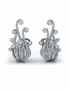 Calamari diamond clip-on earrings