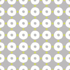 Gail Wright at Home Designer Fabric by the Yard - Modern Dot and Circle Gray, White, and Citron Green