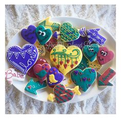 Decorated sugar cookie with royal icing for Valentine's Day by Sweet Rewards