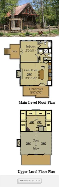 Small Cabin Plan with loft Fish Camp Cabin is a small cabin floor plan with a loft, stone fireplace and covered porch. Visit us to view all of our small cabin house plans. Cabin Plans With Loft, Small Cabin Plans, House Plan With Loft, Cabin House Plans, Cabin Floor Plans, House Plans One Story, Tiny House Cabin, Small House Plans, Cabin Homes