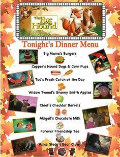 Fox and the hound movie night menu Movie Night For Kids, Dinner And A Movie, Family Movie Night, Disney Family Movies, Kid Movies, Disney Movie Nights, Disney Inspired Food, Disney Food, Disney Dinner