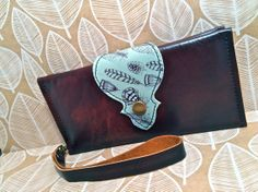 Leather Wallet Long, Phone Case with Wrist Strap & Zipper Pocket Brown, Paper Blue, Feathers Print- SALE - see Listing for Coupon Codes...