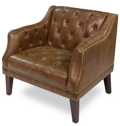 Gorgeous Forbes Tufted Brown Leather Oak Wood Club Chair,32'' x 35''H #Unbranded #Traditional