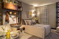 Clean e moderno, o quarto jovem de solteiro, de 16 m², tem a assinatura de Betta e Roberto Pollis. O ambiente foi decorado com os utensílios pessoais do proprietário