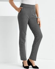 Hip to Be Square Pant -- Women's stylish pull-on pant in an intricate, two-tone geometric print.