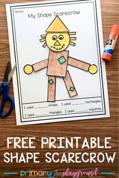 Free Printable Shape Scarecrow - Primary Playground - Free Printable Shape scarecrow Your little learners will have fun creating a scarecrow with shape pieces Source by jenetteo - Preschool Learning, Kindergarten Classroom, Kindergarten Activities, Preschool Printables, Classroom Activities, Teaching Math, Preschool Shapes, 2d Shapes Kindergarten, 2d Shapes Activities