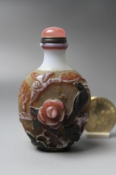 Fine Chinese Antique Carved Flowers Birds 4-layer Covered Glass Snuff Bottle