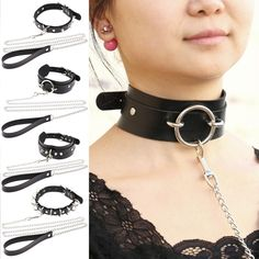 Womens Man Sexy Rivet Alternative metal slave PU Leather Collar Traction Rope,BDSM Bondage Necklace Neckband,Sex Toys For Couple(China) Slave Collar, Collar And Leash, Leather Collar, Pu Leather, Posture Collar, Alternative Metal, Fetish Fashion, Men's Fashion, Punk