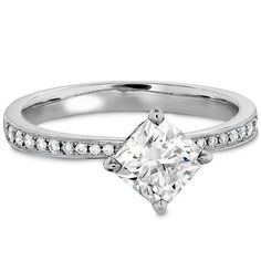 Hearts On Fire Dream Offset Signature Engagement Ring - Diamond Band at Clowes Jewellers, Alberta, Canada Diamond Solitaire Rings, Diamond Bands, Diamond Jewelry, Jewelry Rings, Jewellery, Fine Jewelry, Heart Engagement Rings, Diamond Dreams, Diamond Simulant