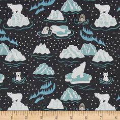 Lewis & Irene Northern Lights Metallic Polar Bears & Seals Navy from @fabricdotcom  From Lewis & Irene, this cotton print  features wintry themes with metallic accents and whimsical flair. Perfect for quilting, apparel, and home decor accents. Colors include deep navy, seafoam blue/green, grey, and metallic blue accents.