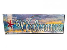 Beach Theme Welcome on Reclaimed Barn Wood 22 x 7  American Made Vintage Retro Style Wall Decor Art Free Shipping PTSW006 by HomeDecorGarageArt on Etsy