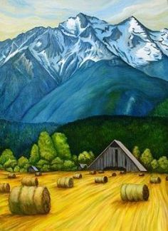 Karen Love Born in Kleinburg, Ontario, home of the McMichael Canadian Art Collection. Influenced by The Group of Seven, Tom Thompson and Emily Carr. Canadian Painters, Canadian Artists, Landscape Art, Landscape Paintings, Illustrations, Illustration Art, Mountain Art, Ap Art, Naive Art