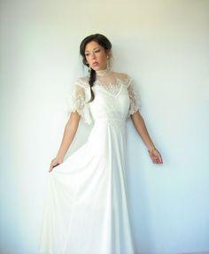 70's Vintage Ivory Cream Flutter Sleeve Wedding by viralthreads