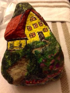 House on a Hill Mid sized Hand Painted by PaintingsbyDe on Etsy