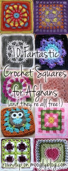 10 Fantastic New Crochet Squares! Making a blanket will be so fun with these! {mooglyblog.com} love the snowflake and owl!: