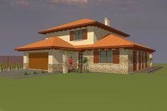 Fosztó András - Mediterrán családi ház Future House, My House, Building Materials, Software Development, House Plans, How To Plan, Mansions, House Styles, Madonna