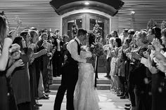 Black and White leaving wedding photo kissing | the Quonset | Christen Jones Photography | memphis