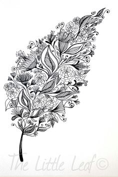 Patterned Leaf Art - Print by ArtbyTheLittleLeaf Zentangle Drawings, Zentangle Patterns, Doodle Drawings, Zentangles, Doodle Art, Pencil Drawings, Art Patterns, Zen Doodle, Colouring Pages