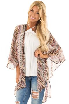dd225cbe6ae Lime Lush Boutique - Multicolor Tribal Print Kimono with Trim Detail,  $39.99 (https: