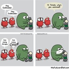 Heart and Brain comics and animations by The Awkward Yeti Akward Yeti, The Awkward Yeti, Funny Cartoons, Funny Comics, Funny Memes, Jokes, Funniest Memes, Awkward Yeti Gallbladder, Heart And Brain Comic