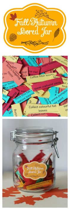 Fall autumn bored jar and activity list.  150 printable low cost or no cost activities for all the family.