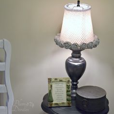 Lamp Makeover with Trash Can Lamp Shade - Plum Doodles Decor, Lamp Shade, Interior Design Tips, Lamp, Creative Lighting, Trash Can, Lamp Makeover, Standing Lamp, Ambient Lighting