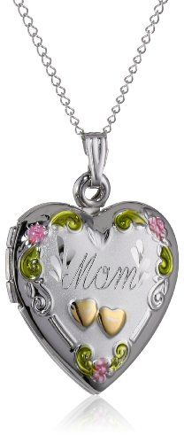 "Sterling Silver Tricolor ""Mom"" Heart Locket with Double Hearts Pendant Necklace , 18"""