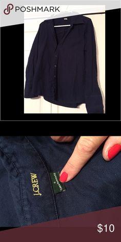 J Crew navy button down J Crew navy Burton down dress shirt. Super flattering. Great condition. J. Crew Tops Button Down Shirts