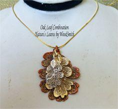 Real Leaf Jewelry, Custom Design Triple Leaves, Oak Set, Necklace, Nature's Leaves. $29.95, via Etsy.