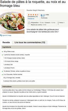 Recette WW Salade de pâtes à la roquette, au noix et au fromage bleu