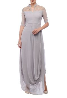 Grey draped gown