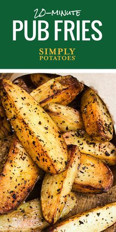 When in Ireland, call them 'chips.' Lightly seasoned potato wedges are oven-baked for crisp, delicious flavor. Perfect for snacks or a quick and easy gluten-free side dish. Traditional Pub Fries are often served with malt vinegar.