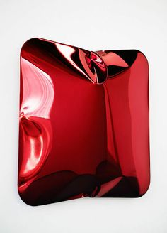 LORI HERSBERGER Bag Day No. 14, 2014  Stainless steel, mirror polished / Warm Red transparent 80 × 80 × 25 in 203.2 × 203.2 × 63.5 cm