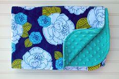 Flannel and Minky Baby Blanket White Blue Aqua by BlackKatStudio