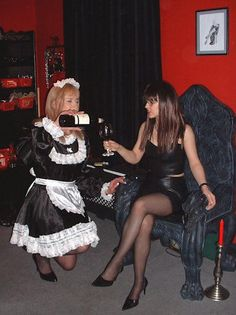 Female domination of male french maid
