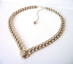 Swarovski Pearl Necklace, Champagne Wedding Bridal Jewelry, Bridesmaid, V Shaped, Mother of the Bride, Formal, Prom Jewelry