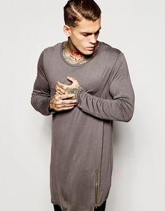 ASOS Super Longline Bamboo Jersey Long Sleeve T-Shirt With Asymmetric Hem