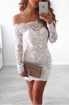 Sheath Off-the-Shoulder Long Sleeves Short Ivory Lace Homecoming Dress