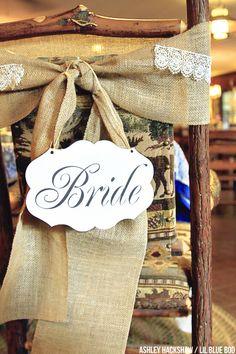 Rustic Wedding Bride & Groom Burlap Chairs
