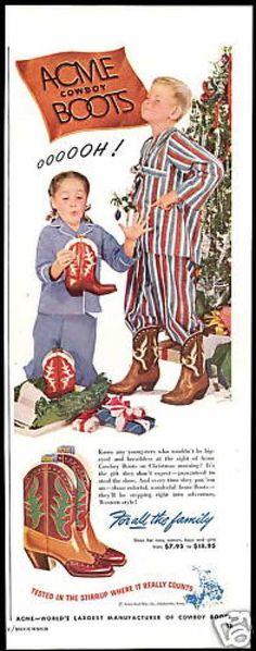 Vintage Christmas Ad ~ Acme Cowboy Boots for Christmas Morning ©1948