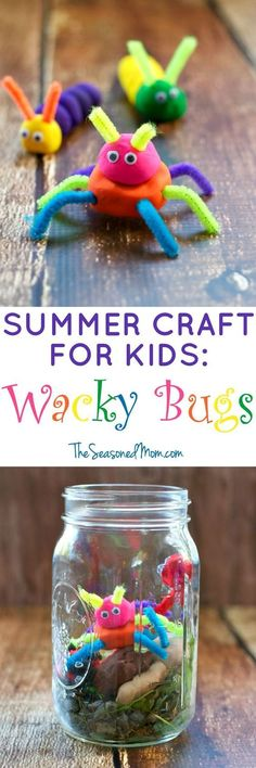 These Wacky Bugs are a fun, easy, and fast summer craft for kids -- appropriate for toddlers, preschoolers, kindergarteners and UP! Plus, enjoy nature with another summer activity for kids -- building a bug house for your critters! #summertimecraftforkids