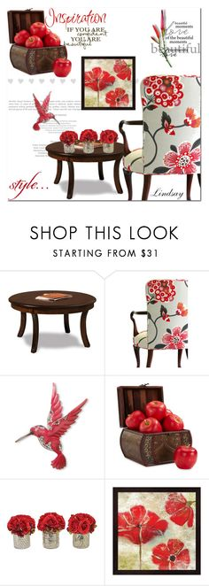 """""""Upholstered Floral Armchair"""" by lindsayd78 ❤ liked on Polyvore featuring DutchCrafters, National Tree Company, Nearly Natural, WALL and The French Bee"""