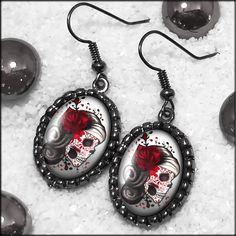 Day of the Dead Skull Dia De Los Muertos Girl Gunmetal Black Earrings 438-OEGM. $20.99, via Etsy.