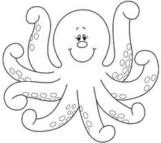 Octopus Coloring Pages. The octopus is a seawater animal, like all cephalopods, is very territorial, therefore solitary and nocturnal. You can find The Octopus Octopus Coloring Page, Animal Coloring Pages, Coloring Book Pages, Applique Templates, Applique Patterns, Applique Designs, Art Drawings For Kids, Easy Drawings, Octopus Colors