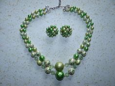 Necklace with Matching Cluster Earrings by TreasuredGlitz on Etsy
