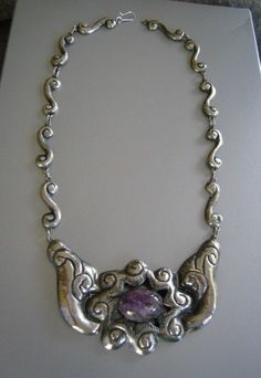 Vintage Mexican Silver and Amethyst Necklace - Art Nouveau style Mexico City