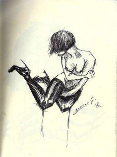 ink, figure, nude, woman, sketch