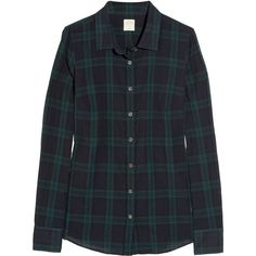 J.Crew Perfect cotton-blend shirt (130 NZD) ❤ liked on Polyvore featuring tops, shirts, blouses, plaid, blue long sleeve shirt, curved hem shirt, long sleeve plaid shirt, tartan plaid shirt and blue plaid shirt