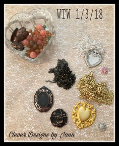 WTW 1/3/18 .. working on a simple monthly challenge necklace, a B'sue by 1928 necklace and a horse necklace .. Clever Designs by Jann