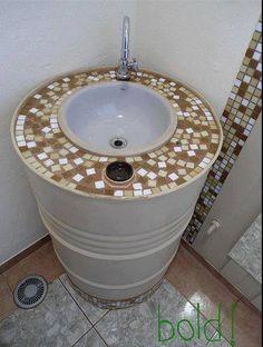Old metal barrel into sink
